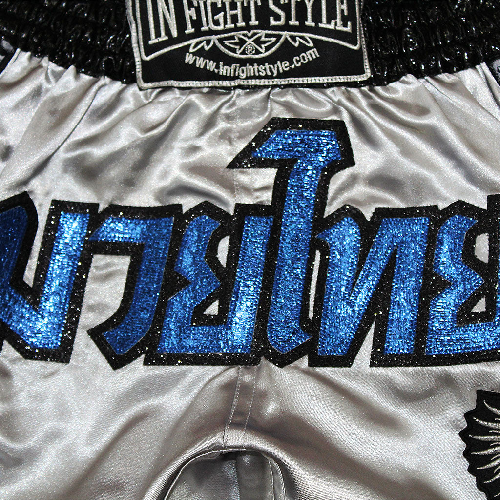 "InFightStyle ""Royal Thai"" Retro - Grey/Blue - InFightStyle Muay Thai Gear, Retro Shorts"