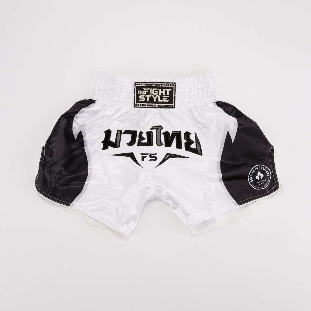 "InFightStyle ""Triumph"" Retro Shorts - White - InFightStyle Muay Thai Gear, Retro Shorts"