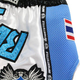 "InFightStyle ""Royal Thai"" Retro - White/Royal Blue - InFightStyle Muay Thai Gear, Retro Shorts"