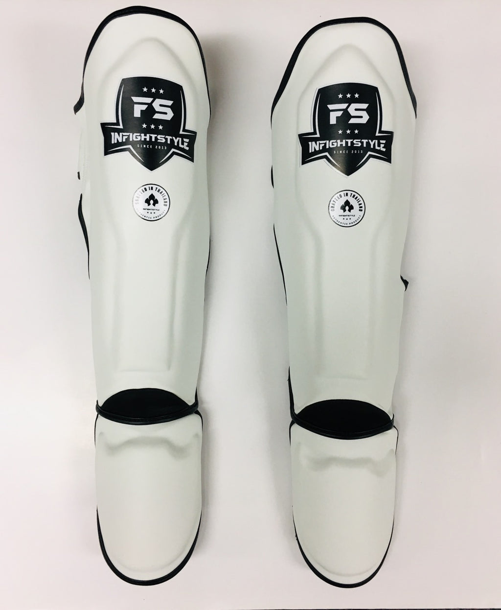 "InFightStyle ""Enfused"" Shinguards - White - InFightStyle Muay Thai Gear, Shin Guards"