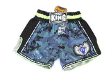 Top King Digital Camo Microfibre Shorts - Navy/Neon Green - InFightStyle Muay Thai Gear, Retro Shorts - Shorts