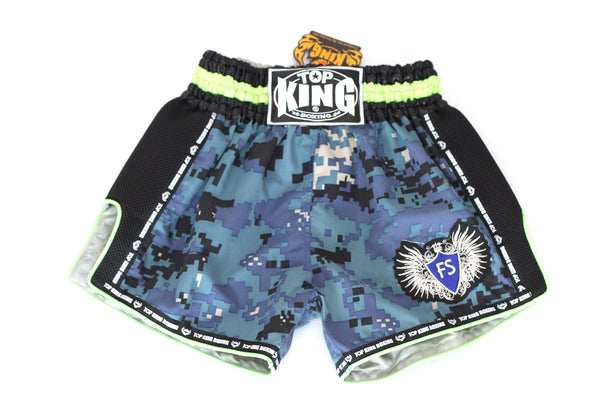Top King Digital Camo Microfibre Shorts - Navy/Neon Green