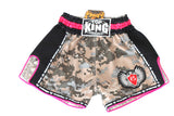 Top King Digital Camo Microfibre Shorts - Desert/Neon Pink - InFightStyle Muay Thai Gear, Retro Shorts