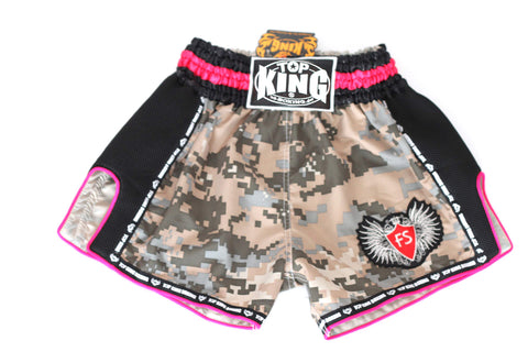 Top King Digital Camo Microfibre Shorts - Desert/Neon Pink