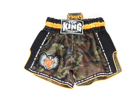 Top King Digital Camo Army Nylon Shorts - Green/Orange