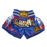 Top King Muay Thai Shorts - Blue - InFightStyle Muay Thai Gear, Traditional Muay Thai Shorts
