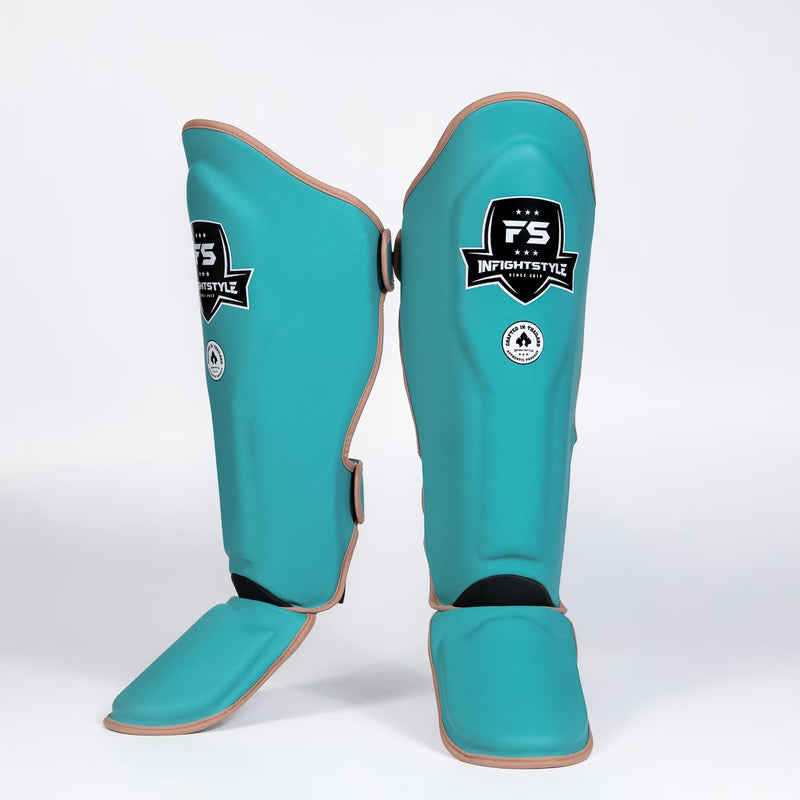 InFightStyle Heritage Shinguards - Teal/Caramel