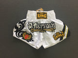 InFightStyle X Top King Muay Thai Shorts - White Satin