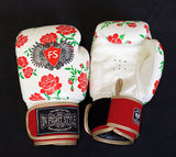 "InFightStyle ""Roses"" Muay Thai Boxing Gloves - White - InFightStyle Muay Thai Gear, Boxing Gloves"