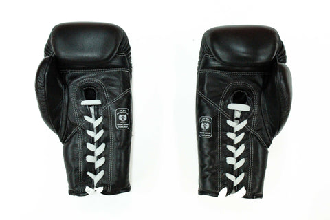 InFightStyle Lace Up Boxing Gloves - Black