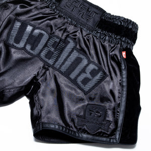 InFightStyle RT20 Retro - Vanta Black - InFightStyle Muay Thai Gear, Retro Shorts