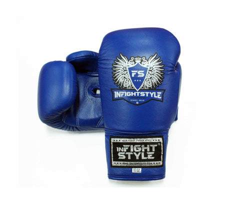 InFightStyle Lace Up Boxing Gloves - Blue