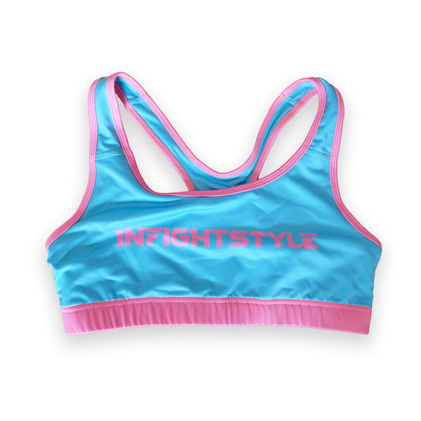 InFightStyle Classic Sports Bra - Light Blue/Pink