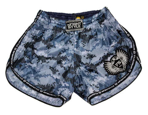 InFightStyle Blue Digital Training Shorts - Nylon
