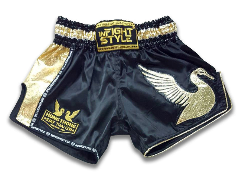 Official HongThong Retro Shorts - Black - InFightStyle Muay Thai Gear, Retro Shorts