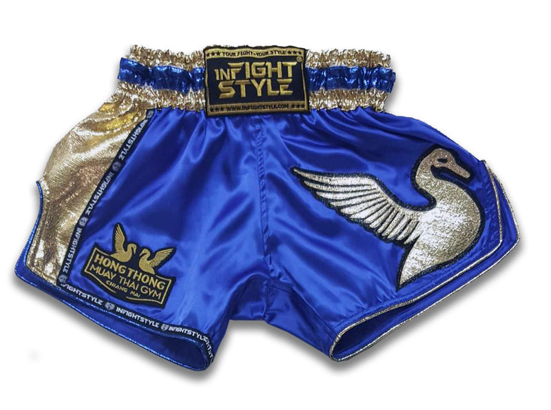 Official HongThong Retro Shorts - Blue - InFightStyle Muay Thai Gear, Retro Shorts