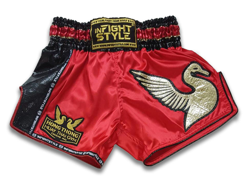 Official HongThong Retro Shorts - Red - InFightStyle Muay Thai Gear, Retro Shorts