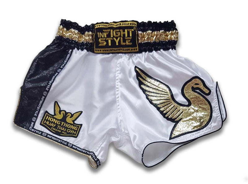 Official HongThong Retro Shorts - White - InFightStyle Muay Thai Gear, Retro Shorts