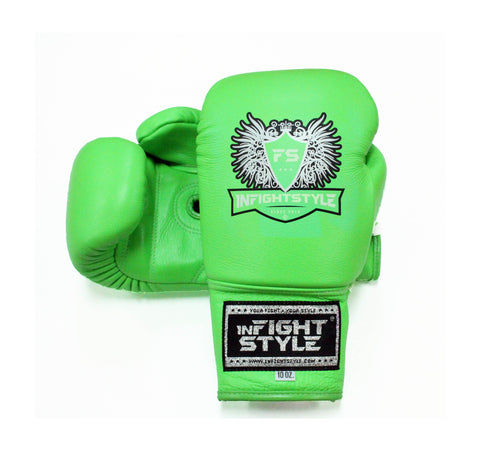 InFightStyle Lace Up Boxing Gloves - Neon Green