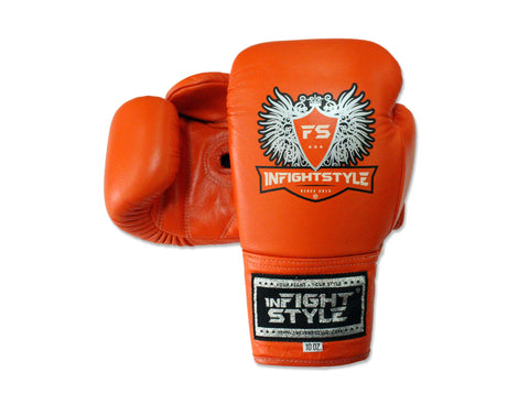InFightStyle Lace Up Boxing Gloves - Orange
