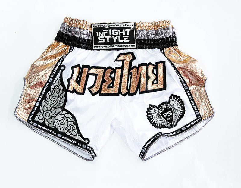 "InFightStyle ""Royal Thai"" Retro - Rose Gold - InFightStyle Muay Thai Gear, Retro Shorts"