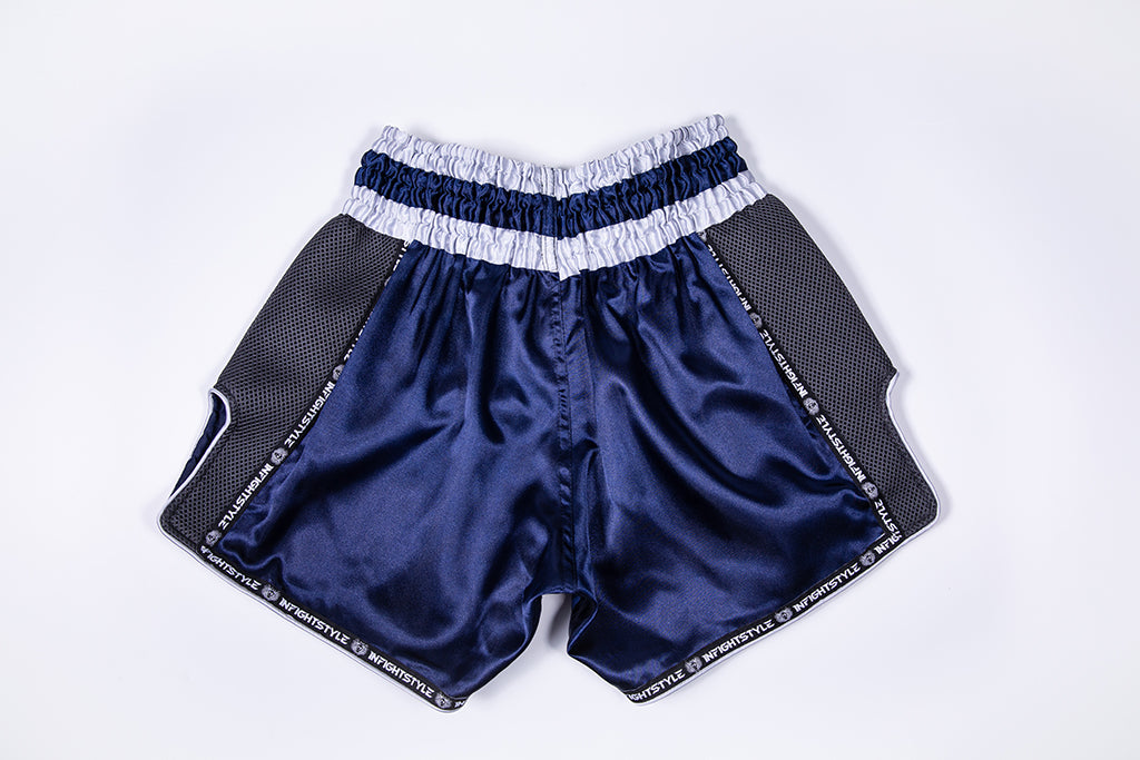 InFightStyle Starter Series - Navy/Grey - InFightStyle Muay Thai Gear, Retro Shorts