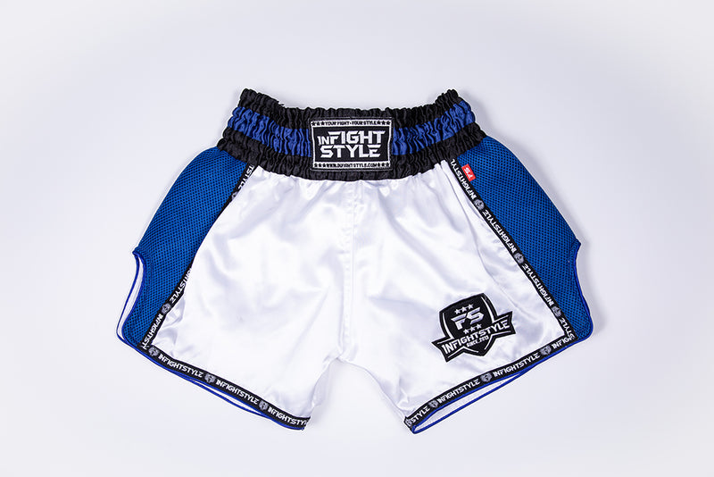 InFightStyle Starter Series - White/Navy - InFightStyle Muay Thai Gear, Retro Shorts