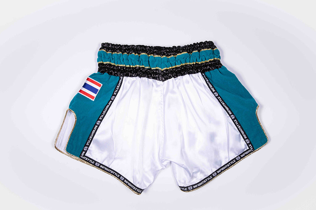 "InFightStyle ""Royal Thai"" Retro - Teal Velour - InFightStyle Muay Thai Gear, Retro Shorts"