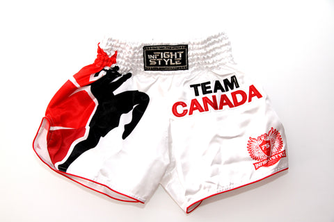 Official Muaythai Canada Retro Shorts - White
