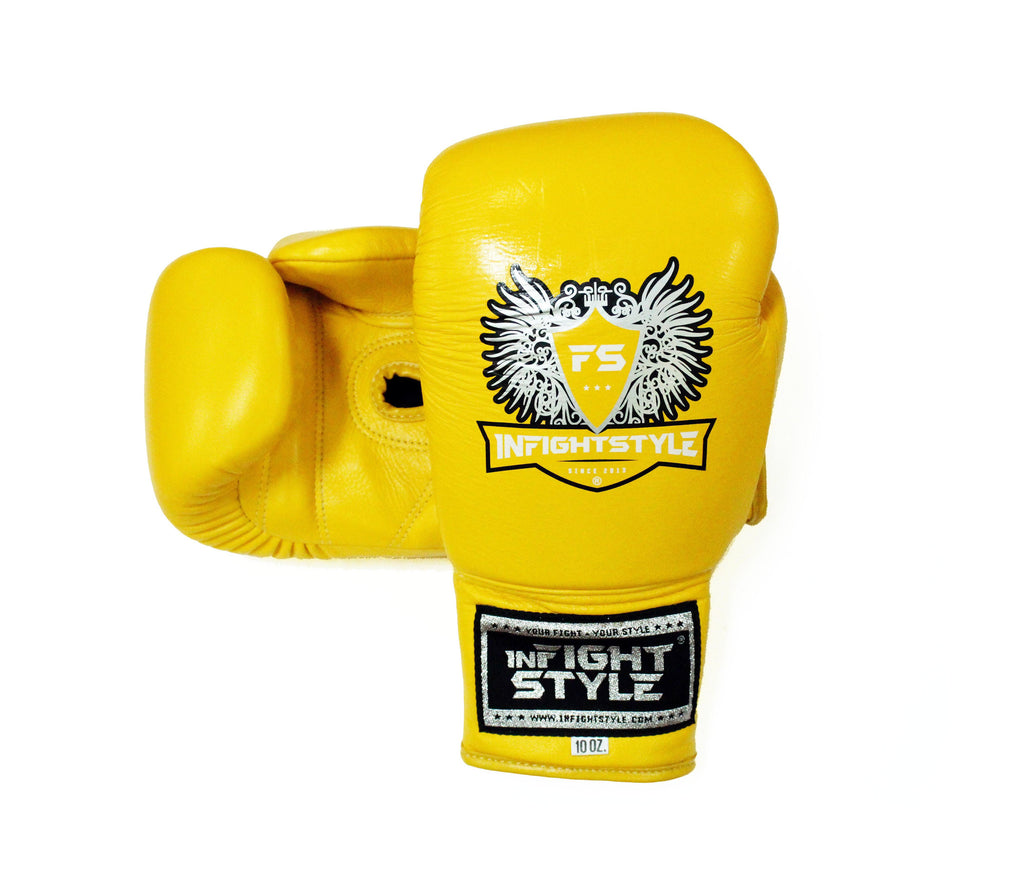 InFightStyle Lace Up Boxing Gloves - Yellow - InFightStyle Muay Thai Gear, Boxing Gloves