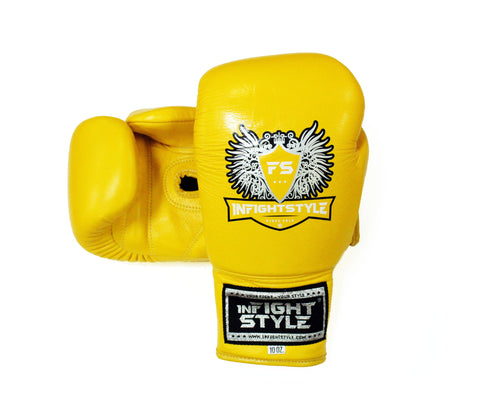 InFightStyle Lace Up Boxing Gloves - Yellow