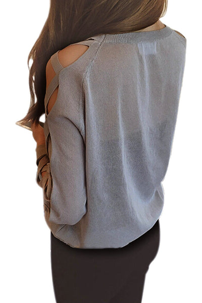 Long Sleeve O-Neck Pullover Hollow Sweater