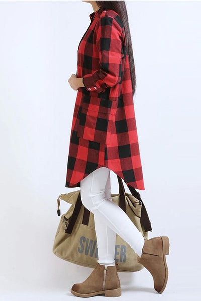 Checkered Loose Casual Vintage Dress