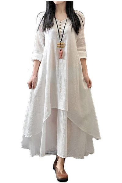 Flowing Solid Long Dress