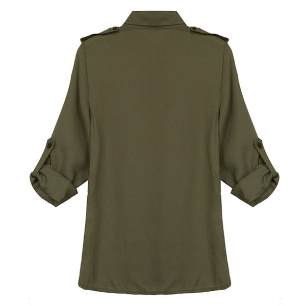 Chiffon Long Sleeve Shirt with Pocket