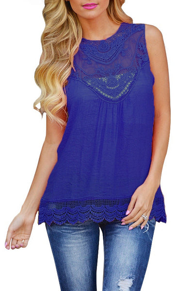 Lacy Beauty Sleevelees Solid Top