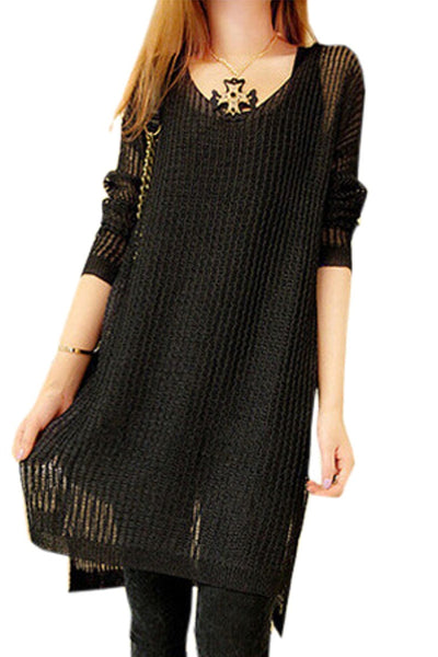 Long Sleeve Knitted Mini A-Line Dress