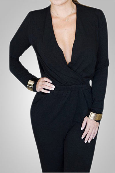Deep V-Neck Long Black Romper