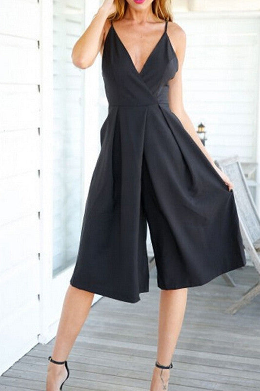 Strap Sleeves Loose V-Neck Romper