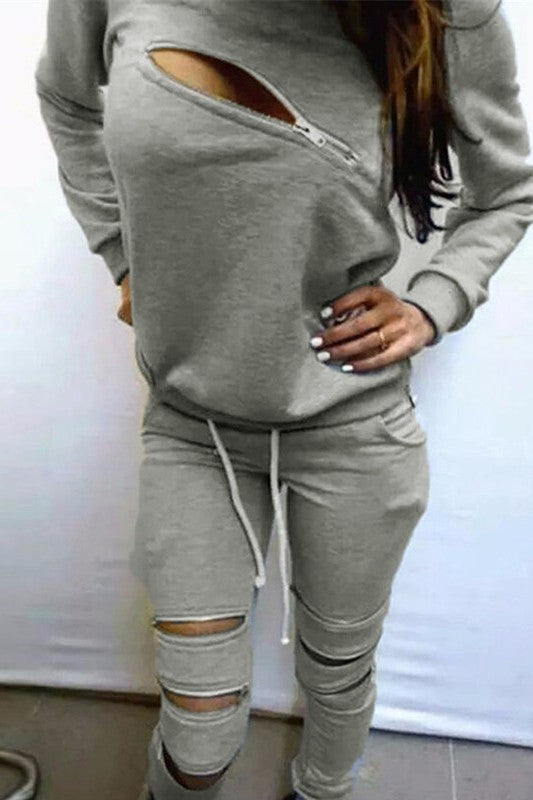 Super Sexy Zipper Sweatshirt Suiit