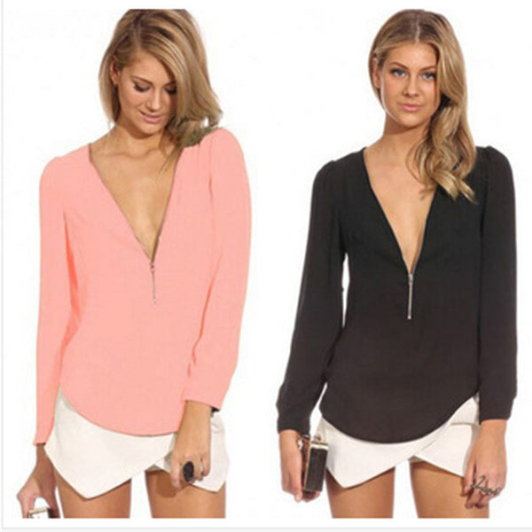 Zip It Up V Neck Blouse
