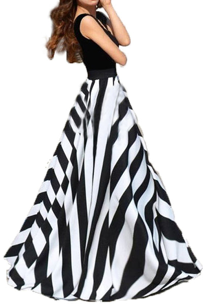 Always Beautiful Black & White Long Dress