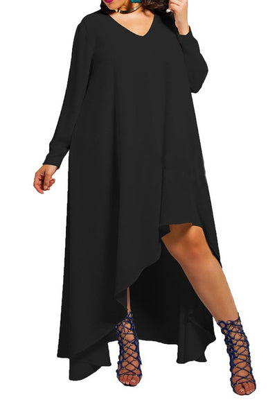 Irregular Hem Chiffon Long Dress