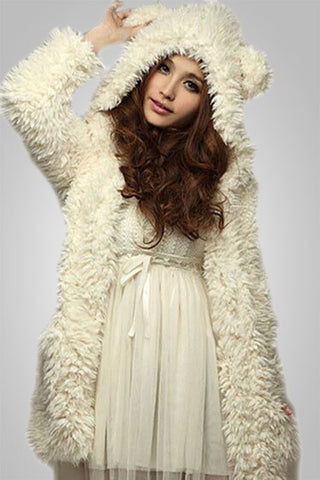 Cute Bear Ear Hooded Fleece Coat