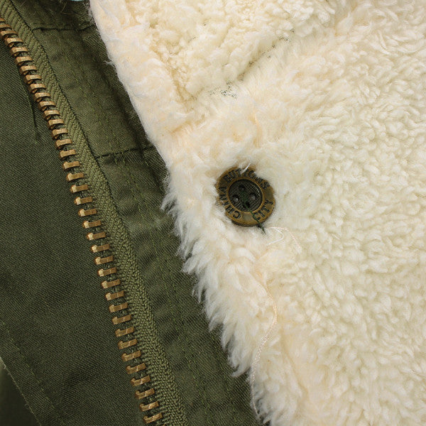 Army Green Faux Fur Jacket