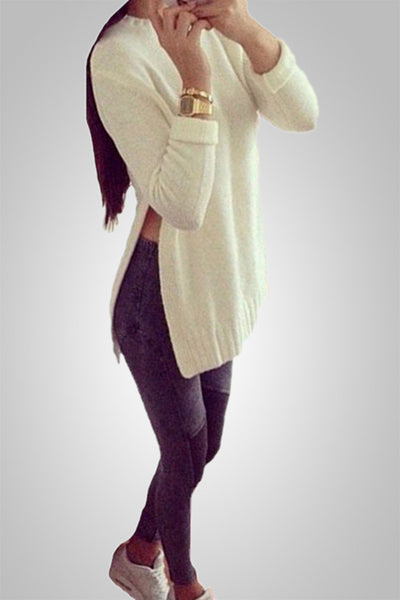 Autumn Love Knitted Slit Pullover