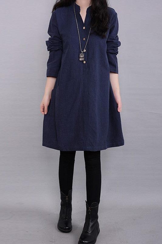 Plain Knee-Length Long Sleeve Dress