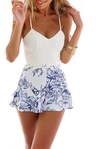 Sleek & Sexy Floral White Lace Romper