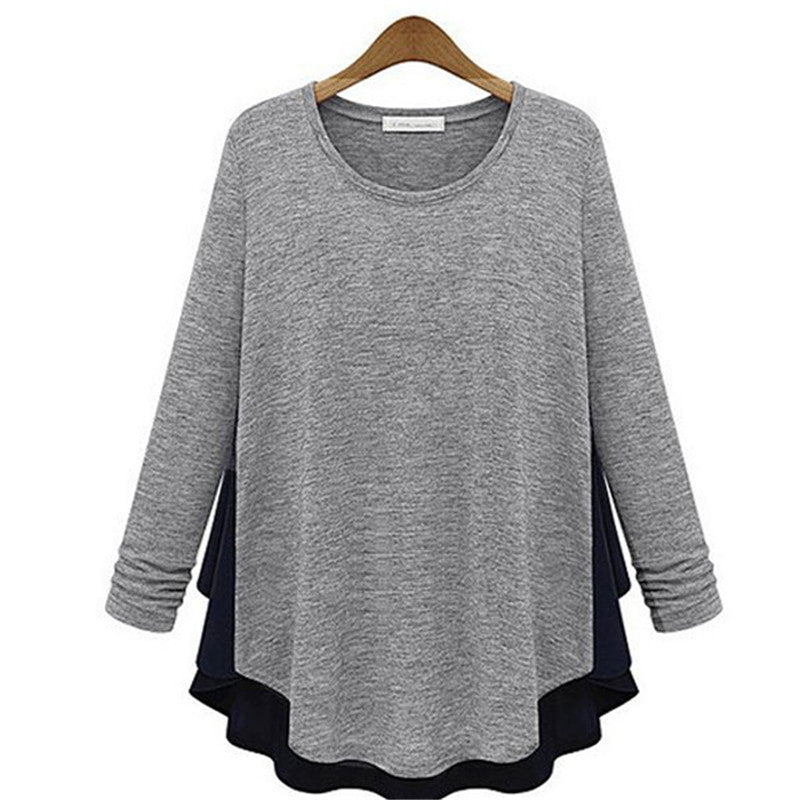 Casul Round Neck Patchwork Top