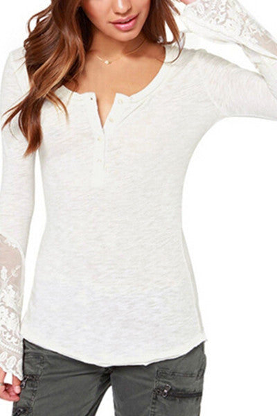 Intricate Lace Button Up T-Shirt